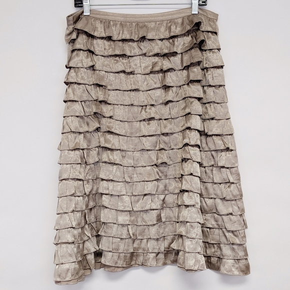 H&M Dresses & Skirts - h&m | gold ruffle layered tiered lined skirt sz 12